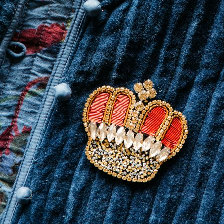 Diamante Red Crown Brooch