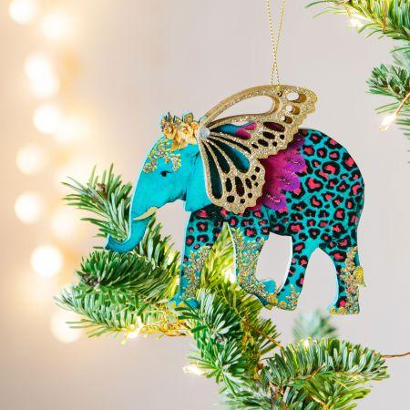 Neon Wooden Elephant Decoration
