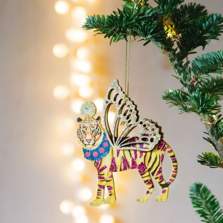 Neon Wooden Tiger Decoration