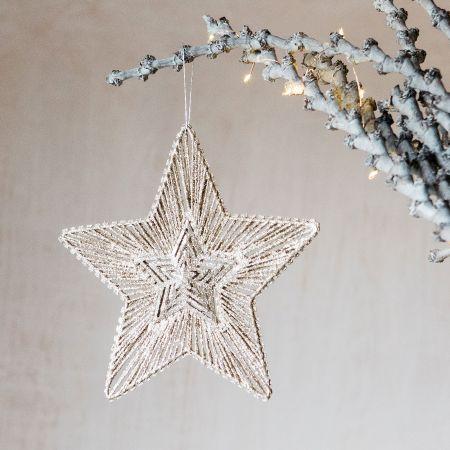 Gold Glitter Metal Star Decoration