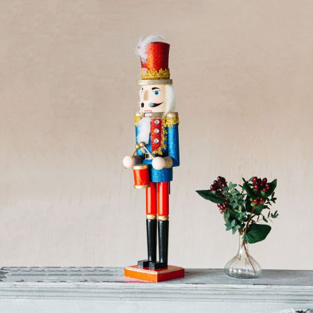 Red and Blue Nutcracker with Drum