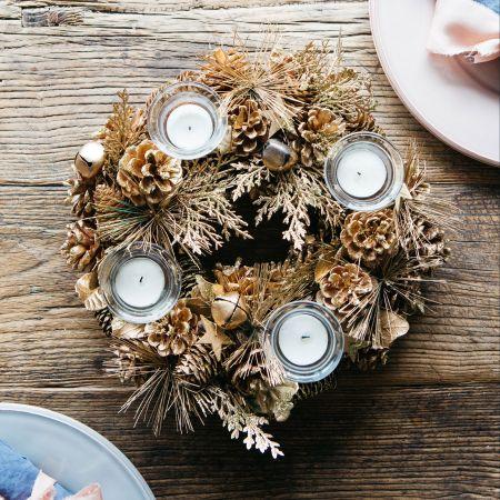 Gold Pinecone Multi Tea Light Holder