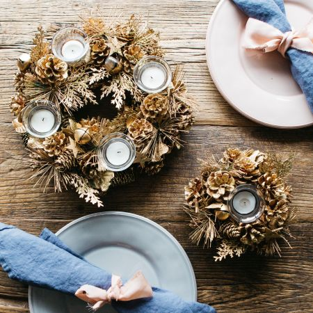Gold Pinecone Tea Light Holders