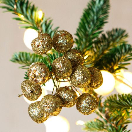 Mini Gold Glitter Cherry Bunch