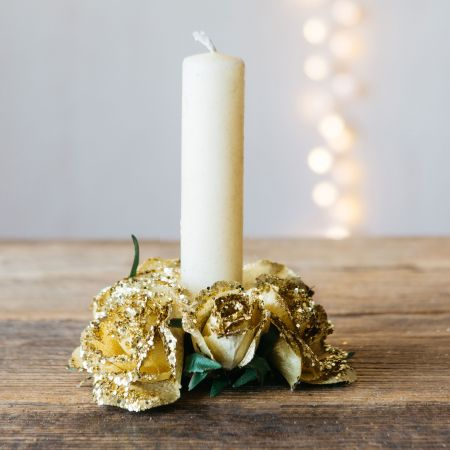 Gold Rose Candle Ring