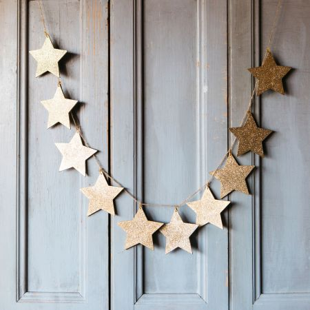 Gold Glitter Star Garland