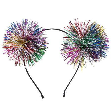 Tinsel Pom Pom Hairband