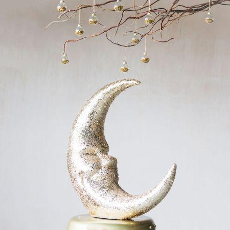 Gold Glitter Moon Ornament