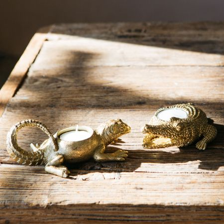 Set of Two Lizard and Crocodile Tea Light Holders