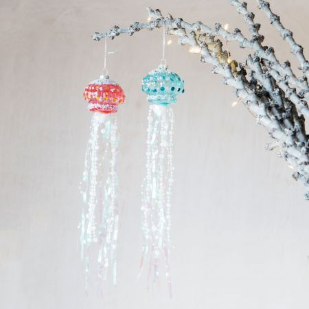 Glass Beaded Jellyfish Decorations