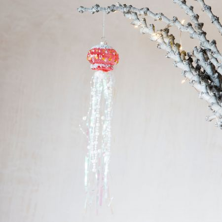 Pink Glass Beaded Jellyfish Decoration
