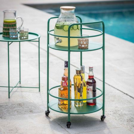 Green Round Drinks Trolley
