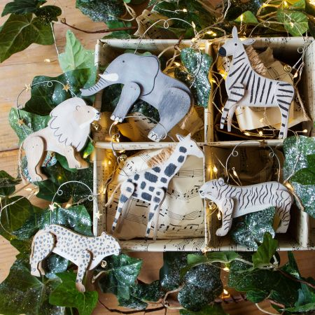 Wooden Safari Animal Decorations