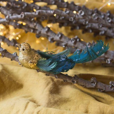 Gold and Blue Bird Clip