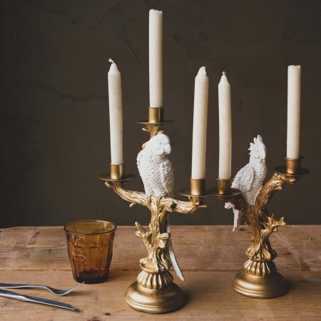 Gold Parrot Candlesticks