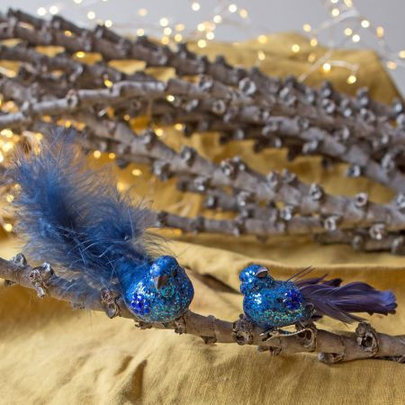Blue Glitter Birds with Tails