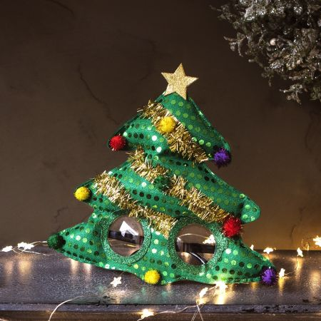 Fabric Christmas Tree Glasses