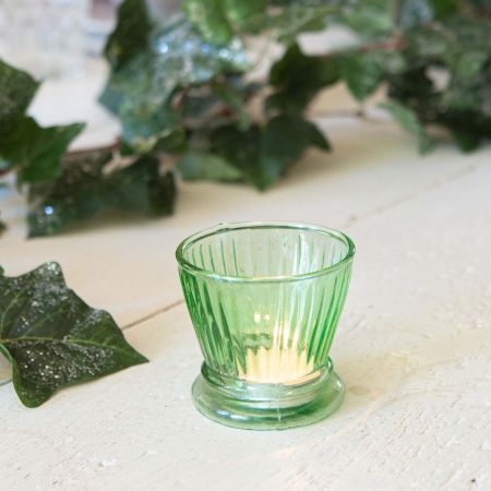 Green Ribbed Glass Votive
