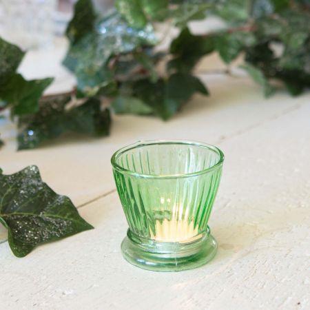Green Ribbed Glass Votive