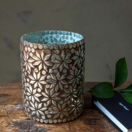 Gold Mosaic Tea Light Holder