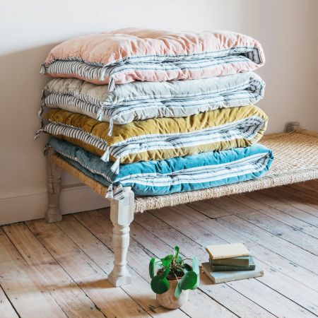 Velvet Bed Rolls with Striped Reverse