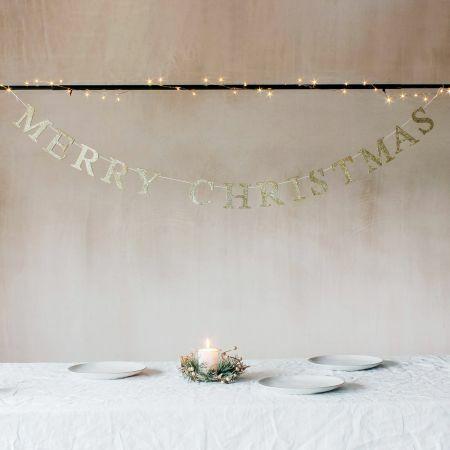 Gold Glitter Wooden Christmas Garland