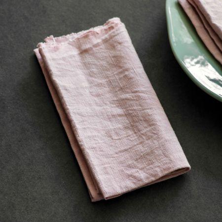Set of Four Pink Linen Napkins