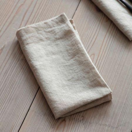 Set of Four Natural Linen Napkins