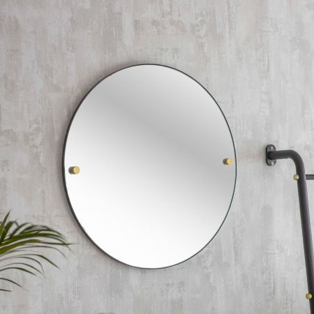 Adelphi Black Round Mirror
