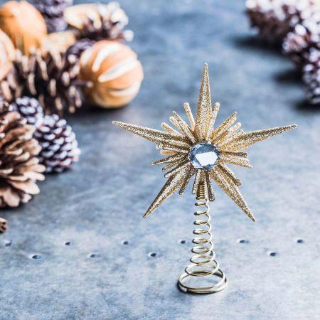 Mini Gold Jewelled Star Tree Topper