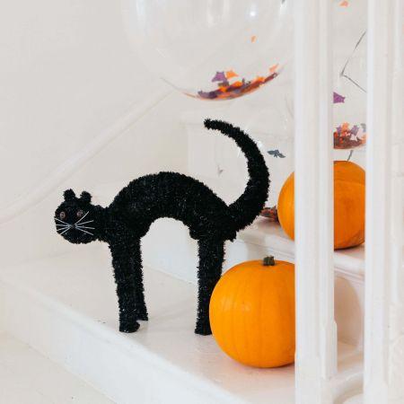 Black Tinsel Standing Cat