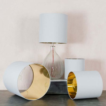 Tall Grey And Gold Drum Lamp Shades