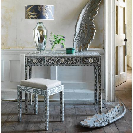 Maxi Grey Mother of Pearl Console Table and Stool