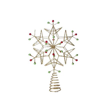 Gold Beaded Snowflake Tree Topper