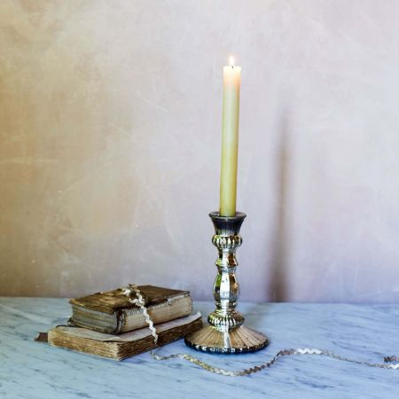 Antique Silver Glass Candlestick - Thumbnail