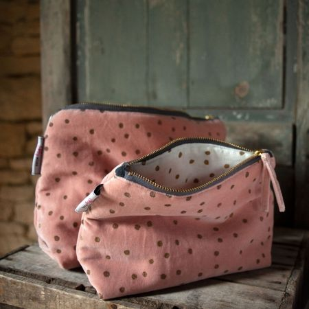 Rose Dotty Velvet Wash Bags - Thumbnail