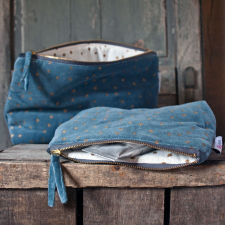 Blue Dotty Velvet Wash Bags - Thumbnail