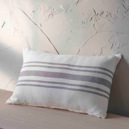 Rectangular Striped Linen Cushion