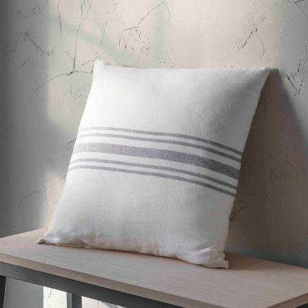 Large Striped Linen Cushion