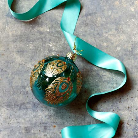 Turquoise and Gold Feather Bauble