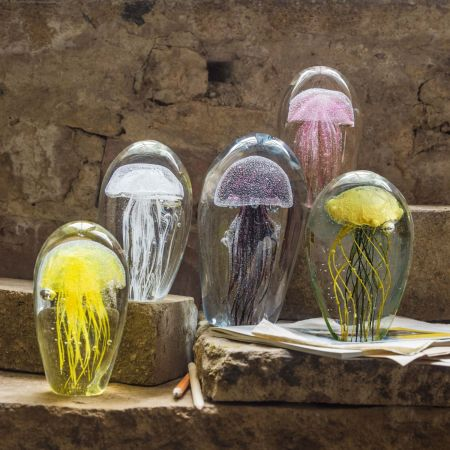 Hand Blown Glass Jellyfish Paperweights