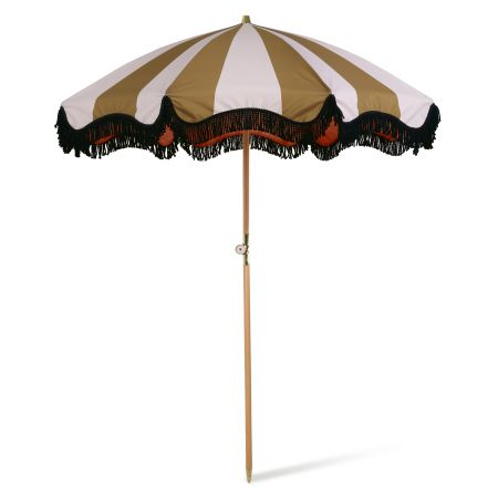 Mustard Stripe Beach Umbrella