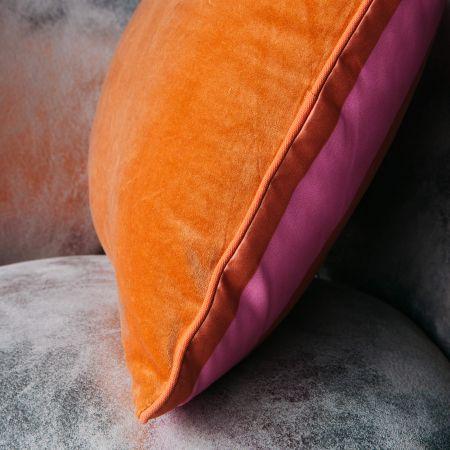 Orange and Pink Striped Satin Cushion