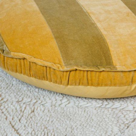 Ochre and Mustard Striped Velvet Floor Cushion