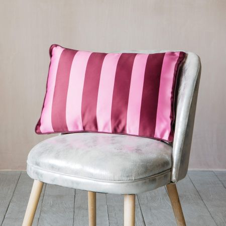 Maroon and Pink Striped Satin Cushion