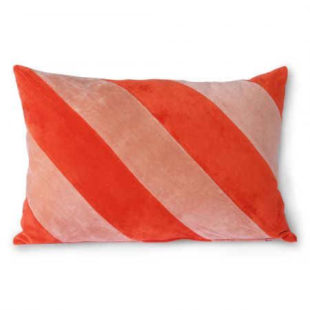 Coral and Blush Striped Velvet Cushion