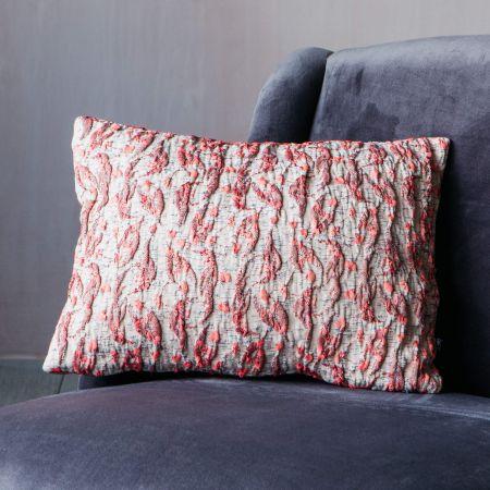 Pink Textured Jacquard Cushion