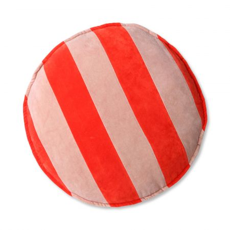 Coral and Blush Striped Velvet Seat Pad