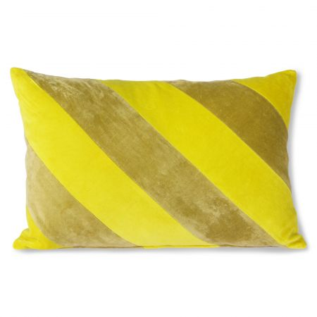 Lemon and Lime Striped Velvet Cushion