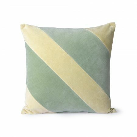 Lemon and Mint Striped Velvet Cushion